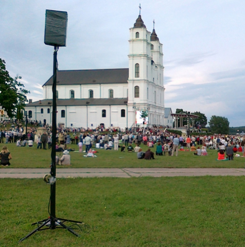 Festival in church with lifting towers and truss @ Anglona (Latvia)