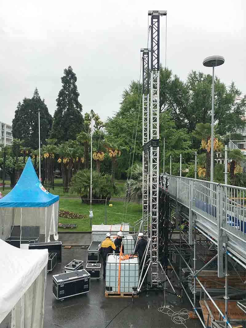 Ground support towers for a sport event Coop Beach Tour @ Locarno (Switzerland)