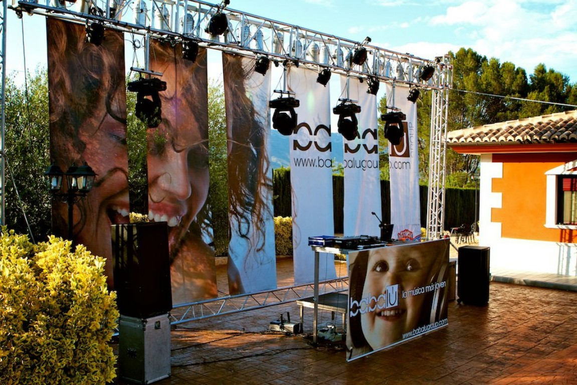 Trusses with tarpaulin and spotlights wedding @ Alicante (Spain)