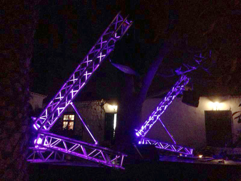 Trusses with lighting for outdoor night event @ Holy. Cruz Tenerife (Spain)
